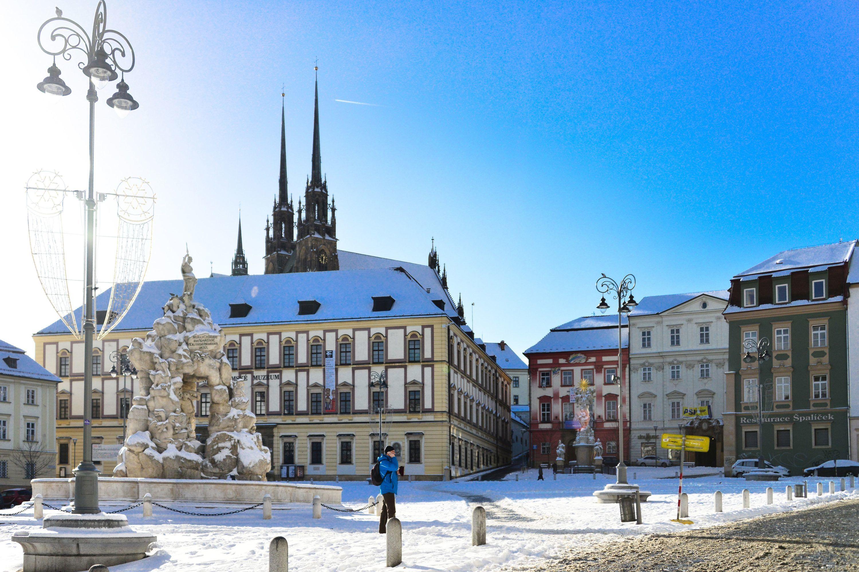 Zelný trh v Brně v zimě