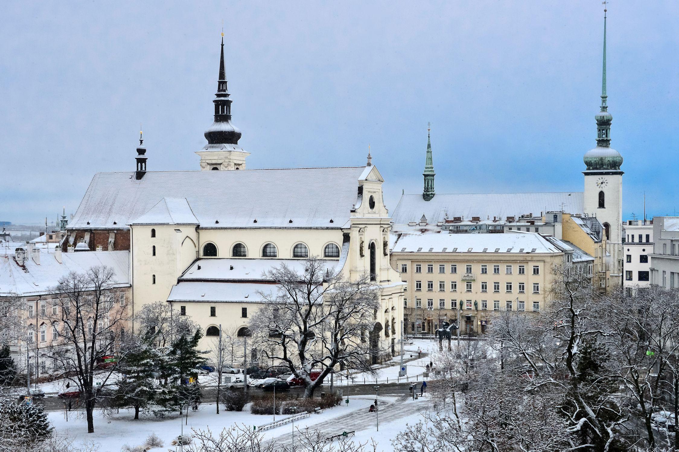 Moravské náměstí v Brně v zimě